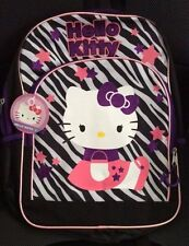 "16"" Hello Kitty Zebra Backpack~NEW~ Black Pink Purple FREE NAME EMBROIDERED"