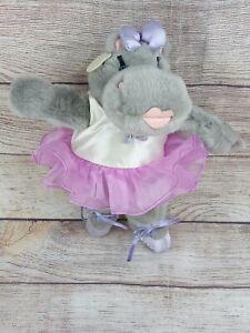 Vtg Ganz Heritage Collection Gray Hippo Plush Ballerina Purple Tutu Gift Unique