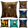 Halloween Castle Linen Witch Waist Square Pillow Case Cushion Cover Home Decor