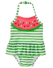 Gymboree Green Striped Watermelon One-Piece Swimsuit Toddler Girl 2T NEW