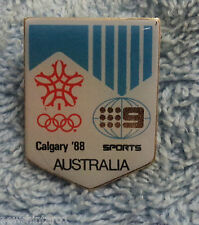 #D295.  1988 CALGARY   OLYMPIC GAMES PIN / BADGE, TV CHANNEL 9 SPORTS