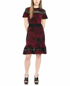 Michael Kors Womens Sheath Dress Black Red US Size Small S Embroidered $98 256