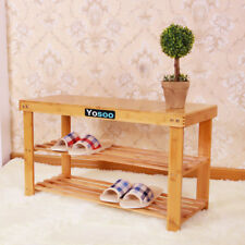 Holz Schuhregal mit Sitzbank Hocker Schuh Regal Schuhschrank Schuhbank Bambus GB