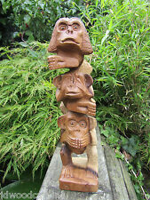 Hand Made Wooden Carving See Hear Speak No Evil 3 Wise Monkeys Monkey Statue