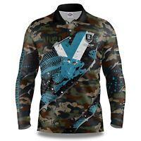 AFL 2021 Long Sleeve Skeletor Fishing Polo Tee Shirt - Port Adelaide Power