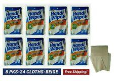 HEAVY DUTY HANDY CLEANING CLOTHS REUSABLE MULTIPURPOSE (8Packs-24 CLOTHS-BEIGE)
