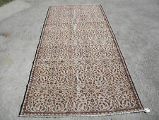 """Turkish Vintage Hand Knotted Wool Area Rug, Shades of Brown 8'5"""" x 4'1"""""""
