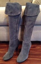 NINE WEST Aloysa Fold Over the Knee Suede Boots Thigh High 9.5 Gray