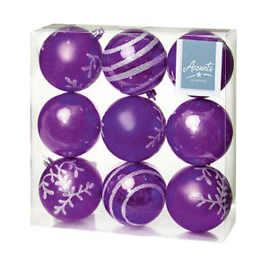 Christmas Tree Decoration - 9 Pack 80mm Baubles - Purple