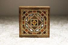 Holz Etui Schmuckschatulle Box Kästchen mit Perlmutt,Damaskunst K 1-1-41