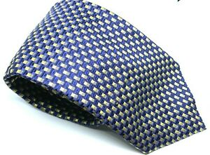 """CANALI Men's Tie Blue Gold Check Squares 100% Silk 3.75"""" Width 59"""" Long"""