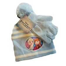 Disney Frozen Childs Blue Hat And Gloves Elsa and Ana