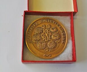 NATIONAL CHRYSANTHEMUM SOCIETY, AFFILATED SOCIETIES, 45mm BRONZE MEDAL CASED UNC