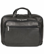 $490 KENNETH COLE Mens BLACK TOP ZIP LEATHER MESSENGER Brief BRIEFCASE WORK BAG