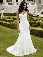 New Sexy Mermaid White/Ivory Lace Wedding Bridal Dress Ball Gown Stock Size 4-16
