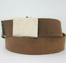 Brown Fabric Vintage Retro Belt Silver Buckle Size S/M
