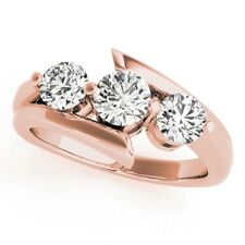 1.00 Ct Real Diamond Engagement Rings 14K Solid Rose Gold Women's Size 4 5 6 6.5