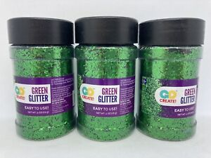 Lot of 3 Horizon Group Go Create Glitter Shakers 4 oz Each ~ Green