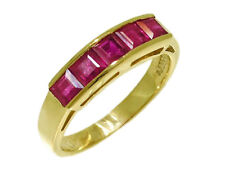 R164 Genuine 9K, 10K, 18K Solid Gold Natural Ruby 5-stone Eternity Ring in yr sz