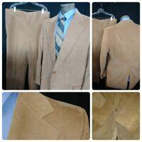 Vtg1980S 48L Tailored Light Brown Corduroy 2PC Suit Jacket Pants 40x29 1v 2b