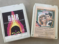 Lot (2) 8 Track Tapes - Grease Movie Soundtrack & Hair Broadway Pops Orchestra