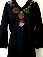 PLUS SIZE 3X Hand Embellished Rhinestone Christmas Ornaments Holiday Themed Top