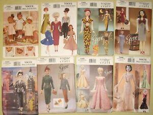 "Vintage Butterick Vogue Craft Gene, Madra, &11 1/2"" Doll Clothes Dress Patterns"