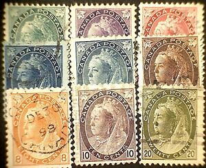 Canada Used Queen Victoria Numeral Issue -  9 stamps great value