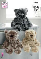 King Cole 9120 Luxury Fur Knitting Pattern Bear in 3 sizes