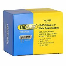 TACWISE CT45 10mm WHITE CABLE TACKER STAPLES, 5,000/BOX (5 x 1,000 packs)