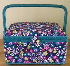 SEWING BASKET BOX 'FLOWERS-A-PLENTY' DESIGN MEDIUM Very Pretty