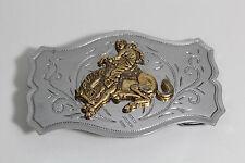Vintage Cowboy & Bucking Bronco Horse & Silver Nickel Belt Buckle