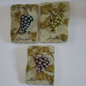 """Art Tiles 6.25 X 4.5"""" Wine Grapes Hanging Wall Plaques-Resin, Set Of 3 Signed CB"""