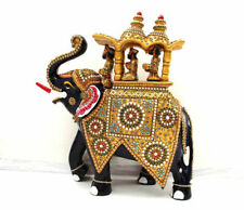 Handmade Metal Stone painting Howdah Elephant Up Trunk Statue  Home Decor Gift