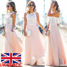 New Womens Ladies Maxi Lace Chiffon Sleeveless Long Dress Evening Party Formal
