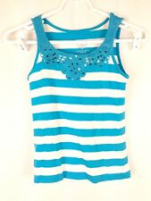 Justice Girl's sz 8 Blue White Striped Cotton Sleeveless Scoop Neck Tank Top