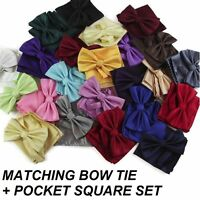 MENS 2 PCS COMBO: CHECKERED BOW TIE + POCKET SQUARE HANKY HANDKERCHIEF