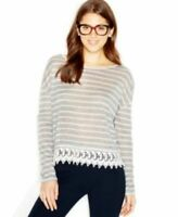 New Womens Maison Jules Long Sleeve Semi Sheer Lace Striped Knit Top Grey L