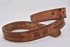 Vintage WRANGLER Leather BELT Sonora Mexico BRAID ARROWS 36 No Buckle BROWN