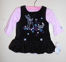 Disney Infant Girls Bambi Velvet Bubble Jumper + Bodysuit Black 0-3M NWT