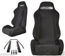NEW 2 BLACK CLOTH + BLACK STITCH RACING SEATS RECLINABLE w/ SLIDER ALL HONDA
