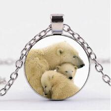 "POLAR BEAR BABY charm gem pendant 20"" Sterling Silver 925 necklace chain female"