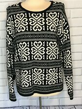 J Jill Size M Sweater, black and white, acrylic blend