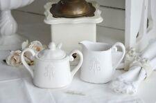 Milchkännchen Zuckerdose Set mit Monogramm Keramik Shabby Brocante Weiß