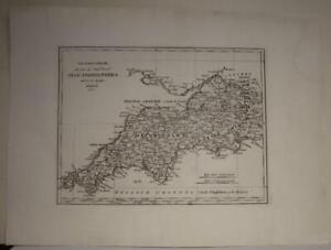 SOUTHWESTERN ENGLAND 1816 BAROLOMEO BORGHI UNUSUAL ANTIQUE COPPER ENGRAVED MAP
