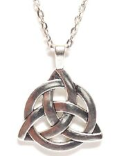 CELTIC KNOT_Pendant on Chain Link Necklace_Irish Triquetra Trinity Pagan Silver
