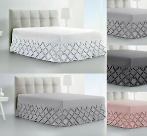 Pintuck Valance Fitted Sheet 100% Egyptian Cotton Double King SuperKing All Size