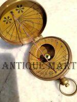 Antique Finish Brass Sundial Compass Pocket Thread Sundial Compass Watch