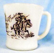 Davy Crockett Mug Fire King Childs Milk Glass Covered Wagon Brown Decals Vintage