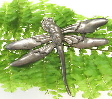 NICE OLD STERLING SILVER DRAGONFLY PIN / BROOCH